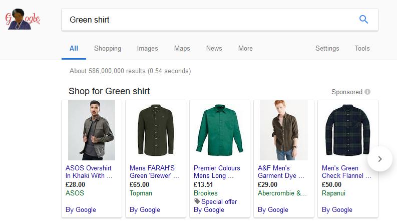 Google Ads Green Shirt Carousel