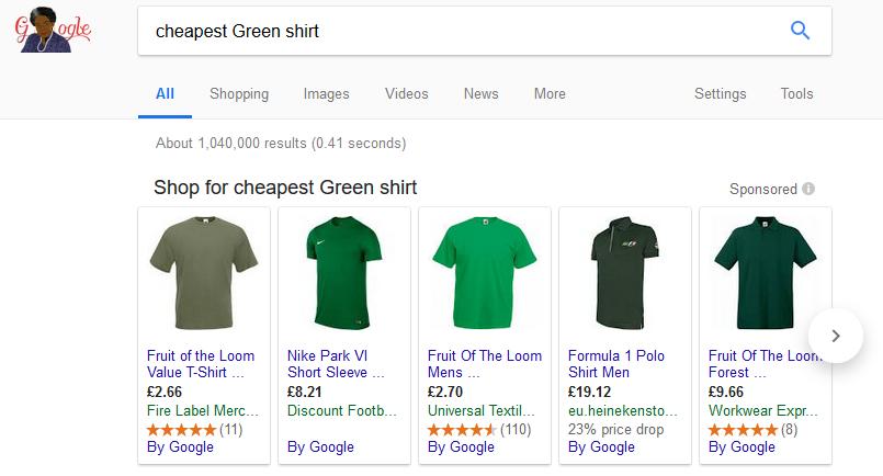 Google Ad Carousel Cheapest Green shirt